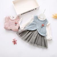 Wholesale Baby Wedding Dress Months - Baby Kid Girls False Two-piece Dress Wedding Party Pageant Tutu Dresses