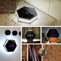 Wholesale Thermometer Digital Mirror - 4 in 1 Hexagonal Mirror Alarm Clock USB Charging Multifunctional LED Mirror  Night Light  Calendar Thermometer Function DHL Free