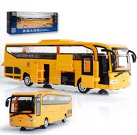 Wholesale Toy Buses American - 1:32 The American school bus Alloy Diecast Car Model Pull Back Toy Car model Electronic Car with light&sound Kids