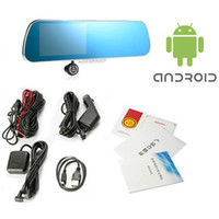 Wholesale Bluetooth View Mirror - 5 inch Android Mirror Monitor GPS Navigation 8GB 1080P Digital Video Recorder Rear View Camera With Car DVR Newest US EU AU Map
