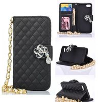 Wholesale Chain Bag Iphone Case - Diamond Flower Wallet Case Credit Cards Holder with Shoulder Chain for iphone 6s 6 7 plus Samsung S7 S6 edge Note 5 SONY Z4 Opp Bag