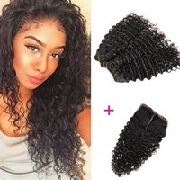 Wholesale Wholesale Weave Distributors - 3 bounds 100% natural indian human hair with Closure wholesale hair deep weave distributors with free shipping