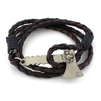 Wholesale Multi Layer Bracelet Crystals - Men Stainless Steel Axe Multi-layer Leather Cuff Bracelet Charm Ax Hook Bangle Wristband Unisex