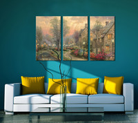 Wholesale Country Canvas Framed - Modern More Panel Digital Picture Print on Canvas Landscape Country Custom Wall Painting Art Images Decorations for Home