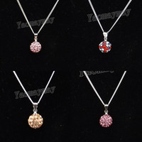 """Wholesale Crystal Ball Necklace Champagne - 24pcs lot Pink, Champagne, Rose Pink, UK flag Crystal Disco Ball Choker 18"""" Silver Plated Link Chain Necklace For Present"""