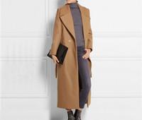 overcoat design toptan satış-Ücretsiz kargo yeni Moda Uzun Yün Ceket Boy Kaşmir OverCoat Ceket Tasarım Femininos Maxi Kış Coat