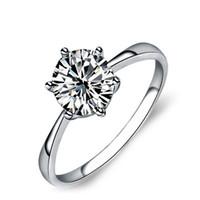 ingrosso grandi anelli solitari-Anello in argento sterling 925 di modo 925 solitario gioielli grande diamante bianco diamante di fidanzamento CZ anello di fidanzamento