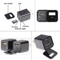 Wholesale Wholesale Spy Gadgets - The Smallest AC Adapter Hidden Camera 1080P HD Wall Charger Camera USB AC Adapter Spy Gadgets Recorder Home Security Camera New 5pcs