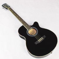 Wholesale Acoustic Jumbo - Wholesale-Thin Body Electro Acoustic Electric Folk Pop Flattop Guitar Jumbo 40 Inch Guitarra 6String Black Light Built-in Tuner Cutaway