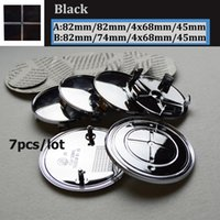 Wholesale Car 82mm - 7pcs set Kit full Black Logo Head Hood Badge Trunk Emblem Cover 82mm 74mm Front Bonnet 45mm Car Steering wheel center caps 68mm caps label