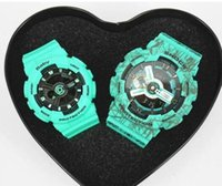 Wholesale Heart Shocking - New Color G Sports Couples Watches Denim Blue Military S Shock Ga110 100 Lovers watch baby-g women wacthes Heart Box