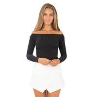 Wholesale Off Shoulder Beige - Wholesale-2016 New Knit Slim T-Shirt Off Shoulder Slash Neck Autumn Casual Women Solid T Shirt Tee Long Sleeve Crop Mujer Top Shirts M0523