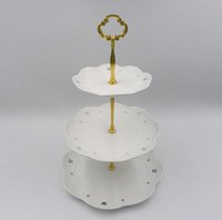 soportes de placa de metal al por mayor-Fiesta de cumpleaños 3Tier ZN Alloys Round Cupcake Stand Wedding Birthday Cake Stand Display Tower Kitchen Tools (Las placas NO están incluidas)