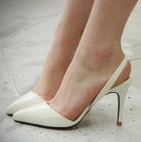 Wholesale Plus Size Black Slip - Sexy Patent PU Leather Pointed High Heels Women Wedding Shoes Office Lady Nude D'orsay Pumps Plus Size 33 to 41 41