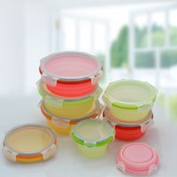 Wholesale Dinner Bucket - 14 6sy3 Foldable Silicone Lunch Boxes Round Silica Gel Lunchbox Food Fresh Keeping Box Container Colorful Dinner Bucket Durable R