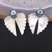Wholesale White Gems Shell - 5pcs Pretty Natural White Shell Carved Angel Wings Pendant with Paved Zircon Natural Shell Pearl Carving Wing Gem Pendants