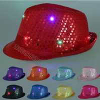 Wholesale Jazz Costumes For Girls - Led Hats for men women and children Cowboy Jazz Sequins Hats Cap Flashing Children Adult Glow In Dark Party Festival Cosplay Costume caps