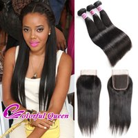 Wholesale Cheap Colorful Weaves - 7A Colorful Queen Malaysian Straight Hair 3 Bundles with Closure 4 Pcs Lot Cheap Straight Malaysian Virgin Human Hair Weaves Closure