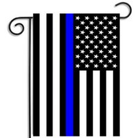 Wholesale Wholesale Police Supplies - Stripes Flag USA Police Garden Flags Blue Line Thin Black White And Blue American US Home Party Decoration Festive Supplies Banner