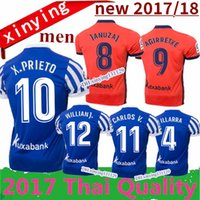 Wholesale Green Fast Dry Shirt - new Real Sociedad 2017 2018 Home Away Soccer Jersey 17 18 Royal Society orange Free Ultra Fast XABI PRIETO CARLOS JUANMI Football Shirts
