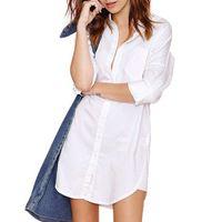 knopf damen t-shirt großhandel-Womens V Neck Shirts weiße lose Bluse Damen tragen Arbeitsknopf vorne Freizeithemd Langarm weißen Button-Down-T-Shirt Tops