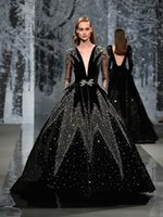 Wholesale Off Shoulder High Slit Dress - black full embellishment crystals long sleeves pockets ball gown wedding dresses 2018 ziad nakad couture deep plunging v neck wedding gowns