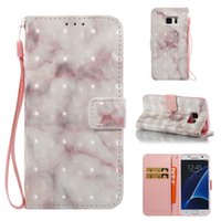 Wholesale Marble Case Galaxy - 3D Marble Wallet Case For Samsung Galaxy S7 Case Slim Shockproof Case Flip Stand Cover For Samsung S7 Phone Shell