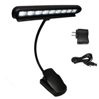 Wholesale Clip Flexible Light - High Quality Rechargeable Table Lamp 9 LED Clip Light Orchestra Arm Flexible Music Stand Adapter Book Reading Lamp Book Lights piano lamp