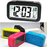 Wholesale Alarm Temperature Sensors - Digital Alarm Clock LED Screen Clock Low Light Sensor Technology Temperature Display Electronic Desktop Digital Clocks New DHL Free OTH356