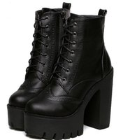 Wholesale Wedge Ankle Bootie - Punk Gothic Rock Women Boots Platform High Top Leather Lace Up Side Zip Ankle Boots Short Bootie Creepers Wing Tip Shoes Broques