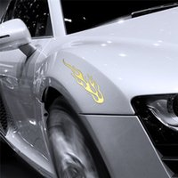 Wholesale Reflective Fire - 20x Auto Car Decal 3D Flame Fire PVC Emblems Sticker Badge DIY Decoration Accessories Reflective Gold Free Shipping