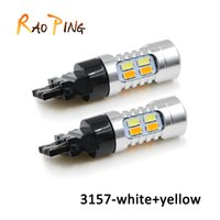 Wholesale 3157 Led Lights Dual Color - Car Led T25 3157 20SMD Dual Color Turn Signal Light Bulbs High Power Front Rear Turn Signal Tail Lights