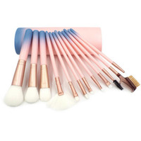 Wholesale hair functions - Makeup Brush 12pcs Pro gradient Eye shadow brushes with Brush bucket Multi function BB Cream Brusher Eyeline Cosmetic tool