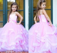 Wholesale Lovely Spaghetti Strap Ball Gown - 2017 Lovely Pink Floor Length Flower Girl Dresses Puffy Tulle Spaghetti Strap Pleats Lace-Up Back Pageant Girls Dresses