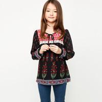 Wholesale Tshirt Tops For Kids - Bohemia Style Big Girls Tops Spring Long Sleeve Shirts Tshirt Flower Print Bowknot Round Collar Kids Girl Shirt Black White For 7-14Y A5932