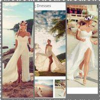 Wholesale White Short Dress Lace Boho - Sexy Beach Wedding Dresses Sweetheart Off Shoulder Appliuqes Lace Chiffon High Split Cheap Wedding Dresses Summer Boho Wedding Dresses