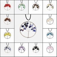 12 Color Tree of Life Collier Wrap Wire 7 Chakra Collier Gemstone 3 Styles Chain Jewelry Pour Choisir Support FBA Drop Shipping B161S