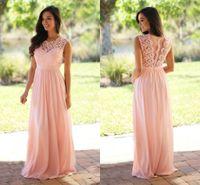 Wholesale Bodice Dress Mint - 2017 Cheap Pink Chifffon Bridesmaid Dresses Lace Bodice Pleated Floor Length Mint Long Prom Dresses Plus Size Party Dresses