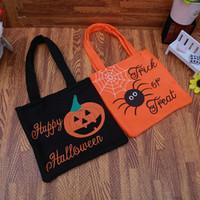 ingrosso borsa arancione modello-10 PZ Zucca spider modello Borsa portatile Candy Non tessuto borse Arancione Nero Regali per bambini Morbido tessuto Puntelli borsa di tela borsa
