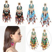 Wholesale Dangle Drop Beads - Bohemian Beads Tassel Earrings National Ear Studs Big Beads Pendant Drop Ear Drop 4 Color Ethnic Wedding Gift B858L