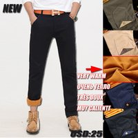 Wholesale Korean Thick Pants - Wholesale- Mens Joggers Free Skinny Flat Low Shipping 2016 New Hot Men Tooling Korean Slim Thick Warm Casual Pants Size 28-42 Freeshipping