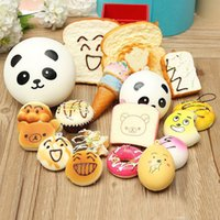 Wholesale bag straps for sale - Big SALE Kawaii Squishies Bun Toast Donut Bread for cell phone Bag Charm Straps mixed Rare Squishy slow rising lanyard scented