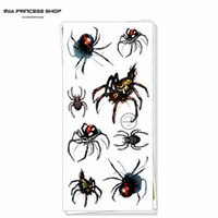 Wholesale Car Body Art Stickers - Wholesale-Sexy Black Spider 3d Temporary Tattoo Body Art Flash Tattoo Stickers 19*9cm Waterproof Car Styling Tatoo Home Decor Wall Sticker