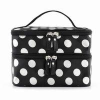 Wholesale Toiletry Bag Polka Dots - Wholesale- FGGS Hot StyleBlack Polka Dots Travel Cosmetics MakeUp Bags Beauty Organiser Toiletry Purse