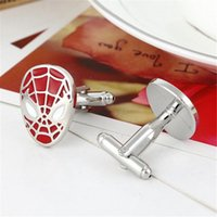 Wholesale Spider Man Decoration For Party - French Cufflinks Men's Cuff Links for Men Trend Jewelry Metal Spider-man Sign Shirt Accessories Party Decoration DHL Free