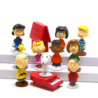 Wholesale Peanuts Doll - 12pcs set Peanuts Movie Charlie Brown Woodstock Lucy Franklin Dolls PVC Action Figures Anime Figurines Kids Toys For Boys Girls
