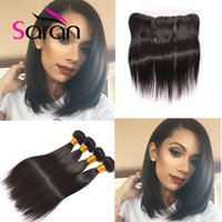 Wholesale Malaysain Hair - 8A Ali moda Malaysian Straight lace frontal 13x4 with bundles Top Quality ear to ear lace frontal with Malaysain virgin hair