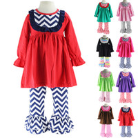 Wholesale Chevron Christmas Dress - Wennikids Little Girls Chevron Bib Dress and Ruffle Pants Legging Two-Piece Set Girl Christmas Clothes outfits Baby Clothing set