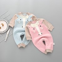 Wholesale Horse Jumpsuit - New Baby Jumpsuits Boys Girls Fashion Romper Little Horse Taeesl Long Sleeve Cotton Romper For Kids Boy Girl Climb Clothing One-piece A7305