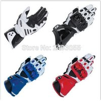 Wholesale gloves woman leather long - New GP PRO Motorcycle Gloves Motorcycle Accessories leather Gloves motorbike long finger gloves black white blue red color free shipping